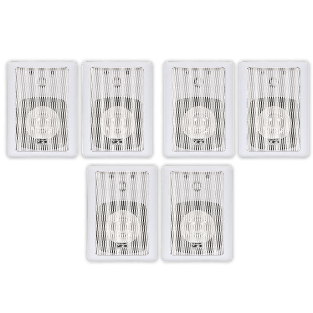Image of Acoustic Audio 151W Indoor Outdoor 2 Way Speakers 1800 Watt White 3 Pair Pack 151W-3Pr