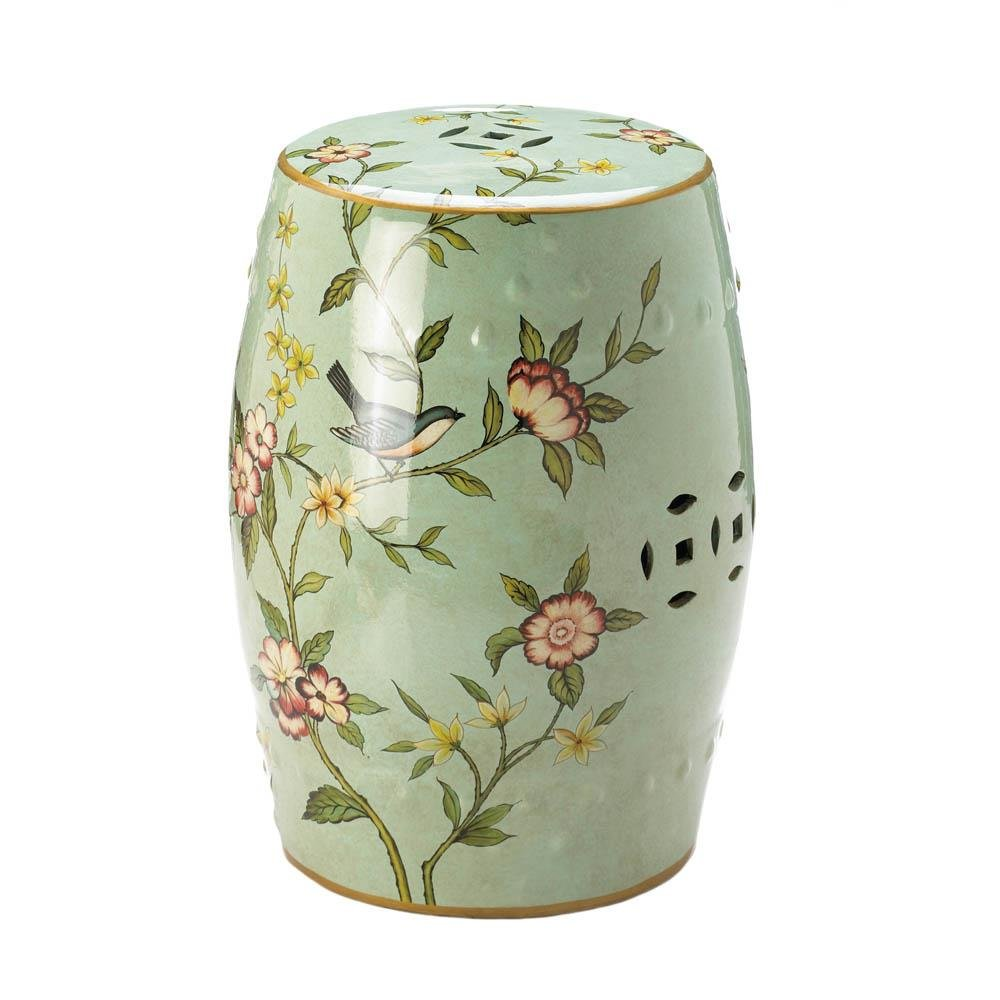 Garden Stools Ceramic Green, Patio Chinese Ceramic Stool Floral Decorative