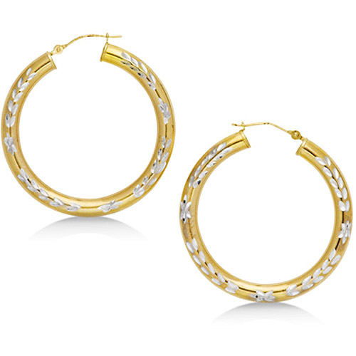 Wheat Design Diamond-Cut Hoops