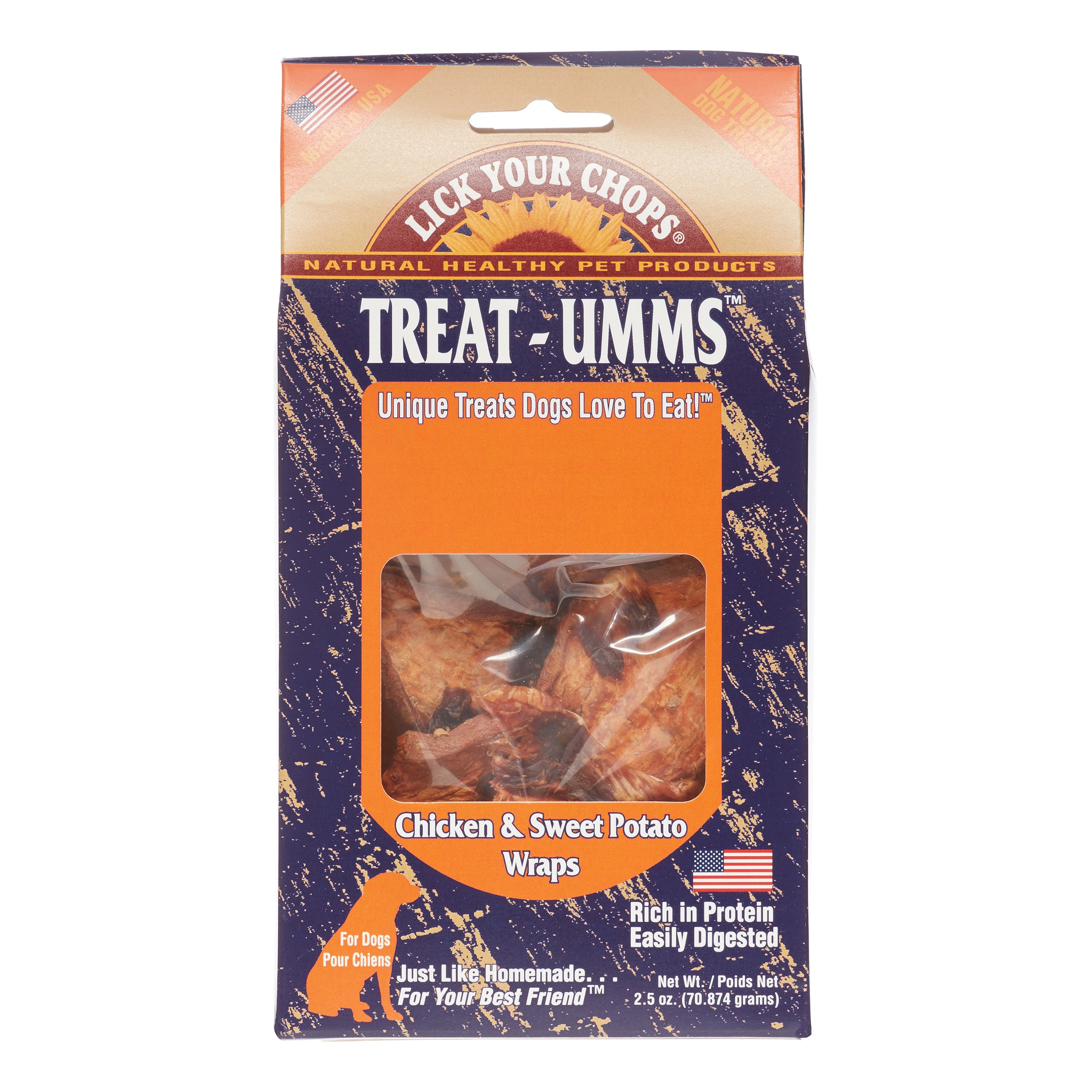 Lick Your Chops Treat-Umms Chicken & Sweet Potato Wraps All Stages Dry Dog Treats, 2.5 Oz