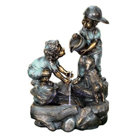 Beckett Helping Hand Boy and Girl Fountain