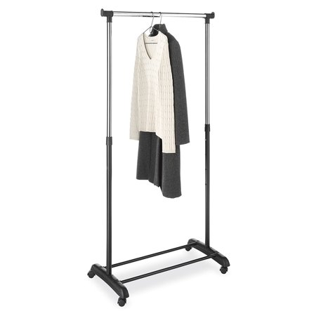 (Adjustable Free Standing Rolling Garment Rack Single Rail Heavy Duty Stainless Steel Clothing Portable Indoor Balcony Hanging Drying Stand Mobile Rack with Caster Wheel)
