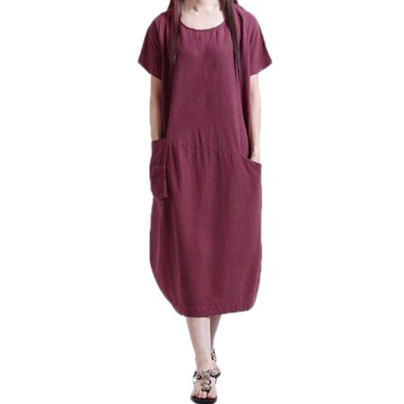 Women Dresses Summer Short Sleeve Pockets Casual Loose Long T Shirt Dress For Women Kaftan Claret Color