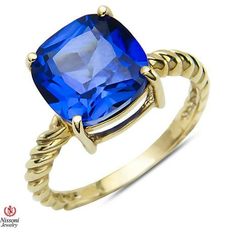Created Sapphire Fashion Ring 10k Yellow Gold 10k Yellow Gold Sapphire Ring