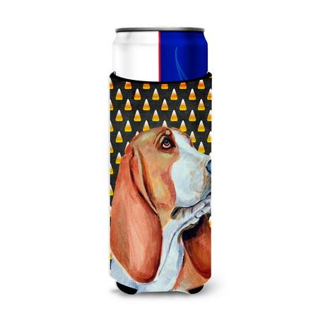 Basset Hound Candy Corn Halloween Portrait Ultra Beverage Insulators for slim cans LH9073MUK