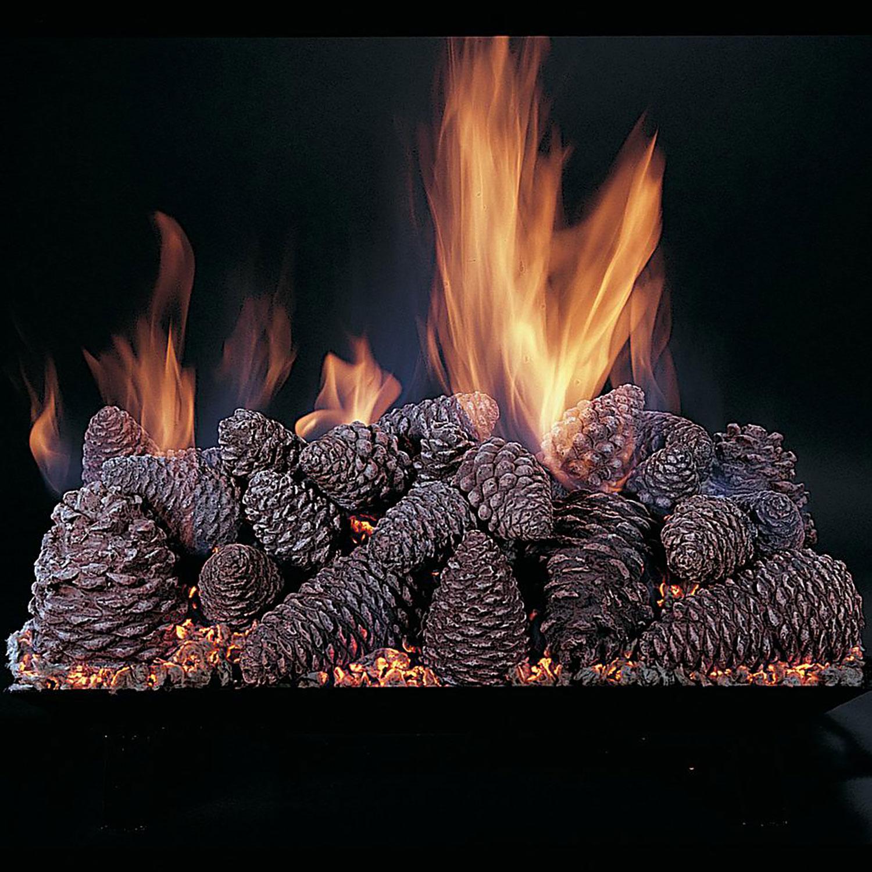"Rasmussen Pine Cones Fireplace Set w/ 18"" (CS) Burner and Pilot Kit, LP, 18"""
