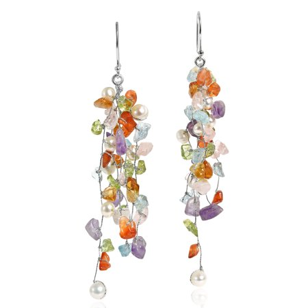 Classy Cluster Multi-Colored & Cultured Freshwater Pearl Long Dangle (Cultured Freshwater Pearl Cluster)