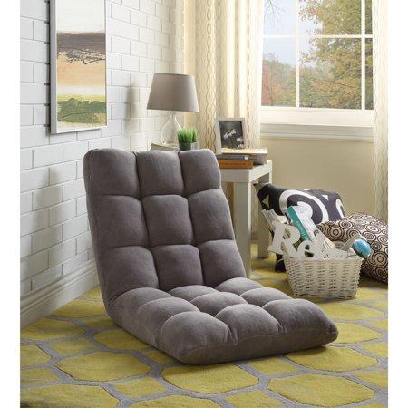 Loungie Grey Microplush Recliner Chair - Folding Floor Mat | Adjustable | Gaming | Portable