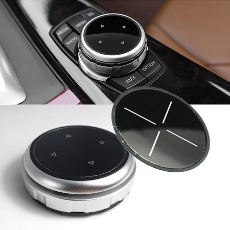 Xotic Tech 1 Set Multimedia Knob Controller Wheel Replacement Cover with Two Different Style Button Stickers For BMW 1 3 5 Series X1 X3 X5 X6 iDrive (Silver)