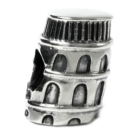 Landmark Series Sterling Silver Italy Tower of Pisa European-style Bead Charm Fits (Rosary Beads Italian Charm)