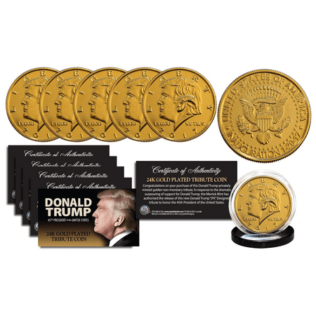 2017 DONALD TRUMP Inauguration 24K Gold Plated 12 GRAMS Tribute Coin (Lot of 5)
