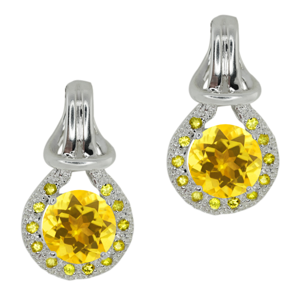 1.60 Ct Round Yellow Citrine Yellow Sapphire Sterling Silver  Earrings