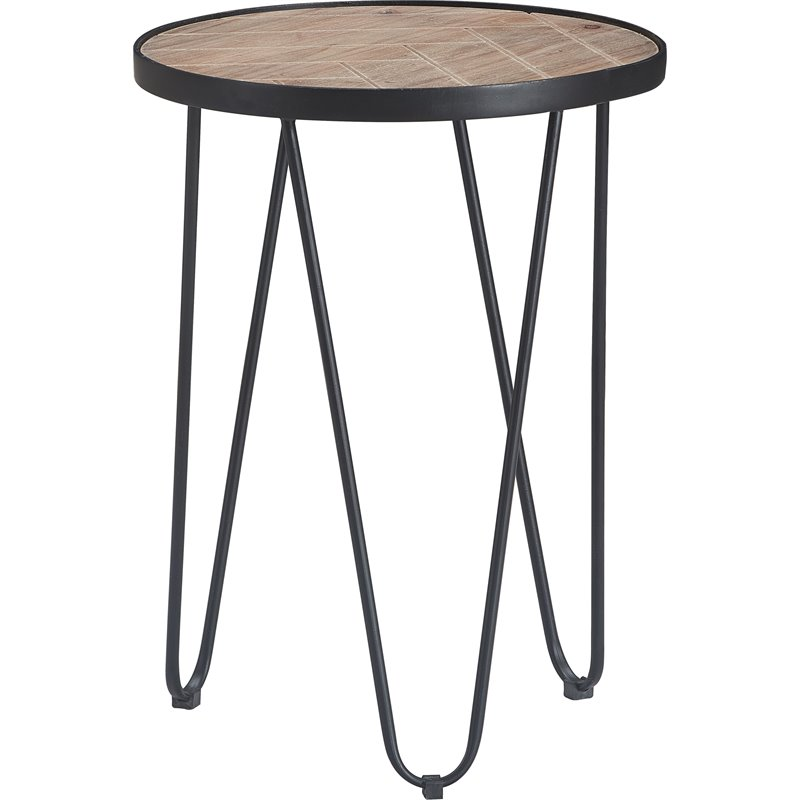 Truly Home Farmhouse Side Table Wood And Black Metal Com - Black Metal Narrow End Table