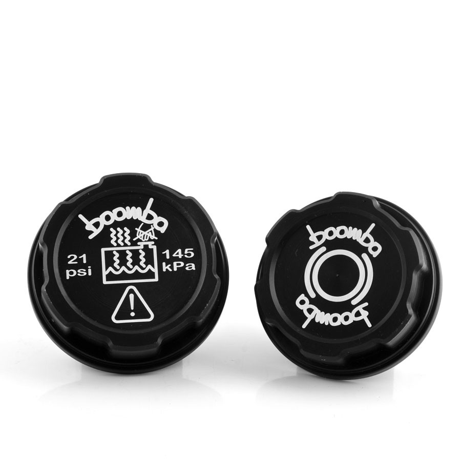 Boomba Brake Fluid Coolant Tank Cap Cover BLACK for 15+ Ford Mustang V6 Ecoboost by Boomba Racing