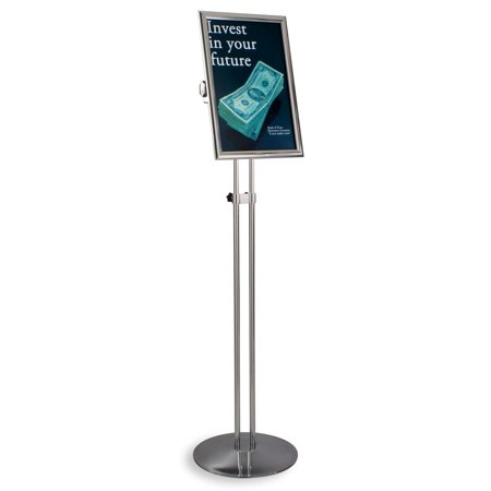 Fully Adjustable Shiny Chrome Finish Poster Stand With Double Metal Pole Base, 12-1/4 x 79 x 18-1/4-Inch, Free-Standing, Snap-Open Frame With Non-Glare Lens (FST1711CHR) ()