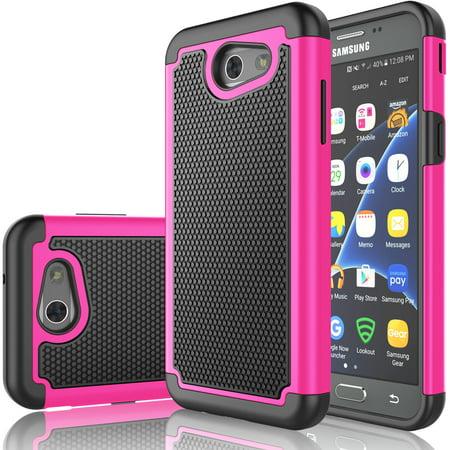 J3 Emerge Case, Galaxy J3 2017 Case, Tekcoo [Tmajor Series] [Hot Pink] Shock Absorbing Plastic Scratch Resistant Hard Cases For Samsung Galaxy Express Prime 2/Amp Prime 2/ J3 Luna Pro in 2017