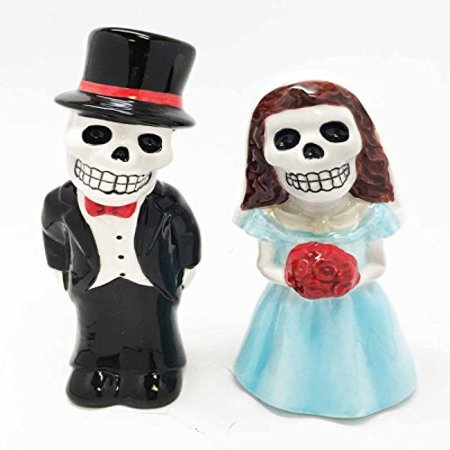 Dias De Los Muertos Wedding Sermon Sugar Skulls Ceramic Salt Pepper Shakers