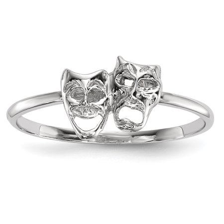 14k White Gold White Polished Tragedy and Comedy Mask Ring