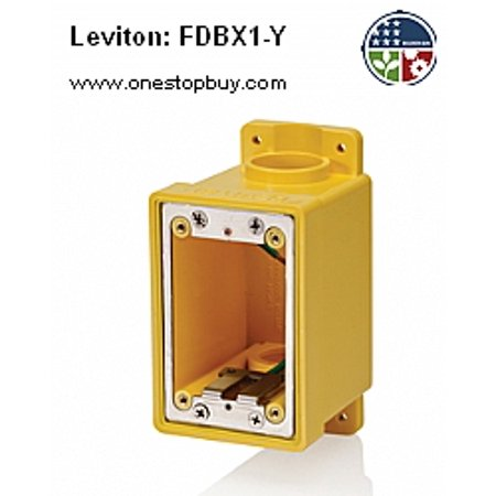 Leviton FDBX1-Y 1-Gang Wetguard FD Box w/ Plug and Reducers - Yellow