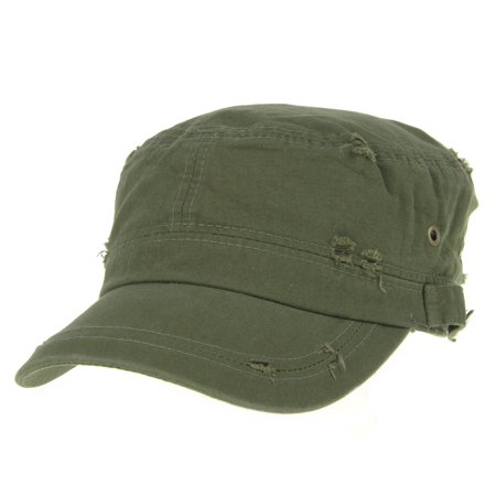 - WITHMOONS Cadet Cap Cotton Vintage Distressed Washed Hat AC4426 (Green)