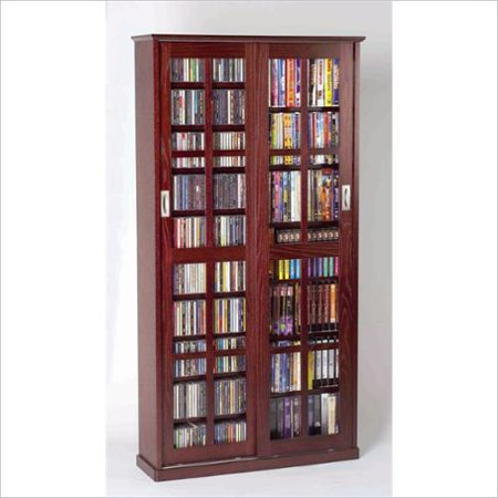 "Leslie Dame 62"" Sliding Door Inlaid Glass Media Cabinet in Dark Cherry by"