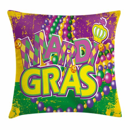 Mardi Gras Throw Pillow Cushion Cover, Grunge Background with Colors Vivid Beads Vintage Letters Joyful Print, Decorative Square Accent Pillow Case, 16 X 16 Inches, Purple Green Yellow, by - Beaded Sari Pillows Cushion Covers