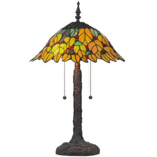 """Meyda Tiffany 139603 Follaje 2 Light 24.5"""" Tall Hand-Crafted Table Lamp with Stained Glass by Meyda Tiffany"""