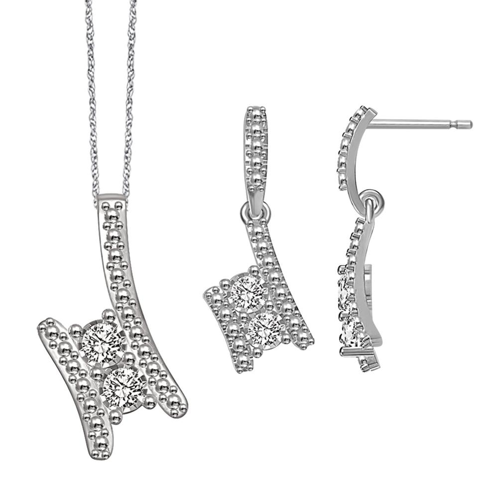Sterling Sterling Silver 1 10 Ct.tw.Diamond Jewelry Set by GSI
