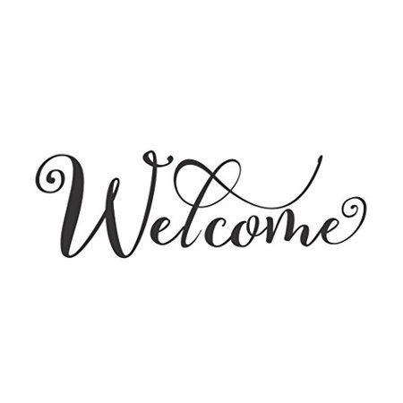 Welcome Cursive Wall Letters Words for Front Door Entry Vinyl Lettering for Décor, 13 x 5 , Black