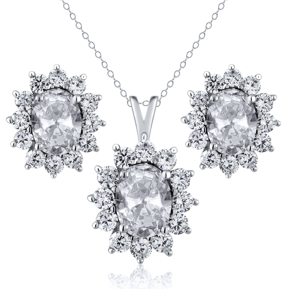 2.90 Ct Oval White Topaz 925 Sterling Silver Pendant Earrings Set by