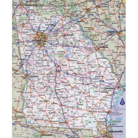 Georgia Satellite Map (Laminated Map - Large detailed roads and highways map of Georgia state with all cities Poster 24 x 36)
