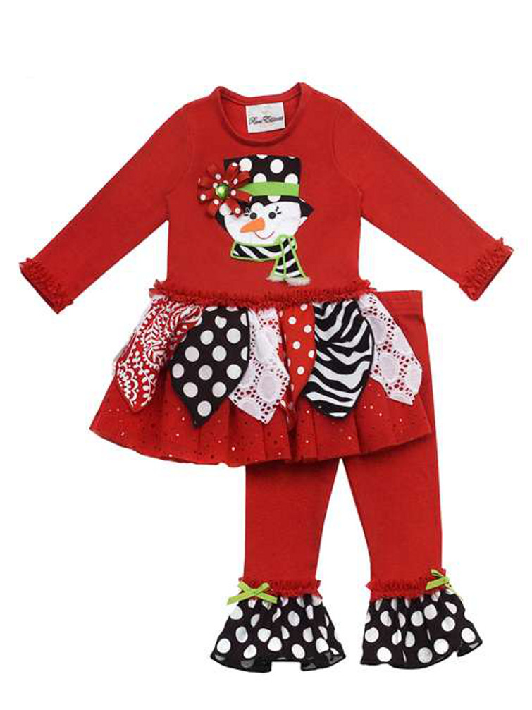 Rare Editions - Rare Editions Girls Christmas Outfits : Red Printed ...