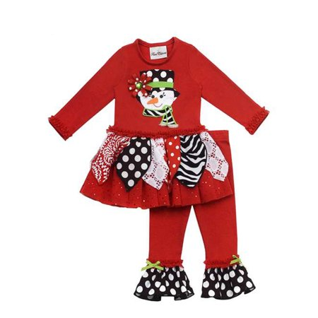 Rare Editions Christmas Toddler.Rare Editions Girls Christmas Outfits Red Printed Snowman Girls Legging Set 6 Months