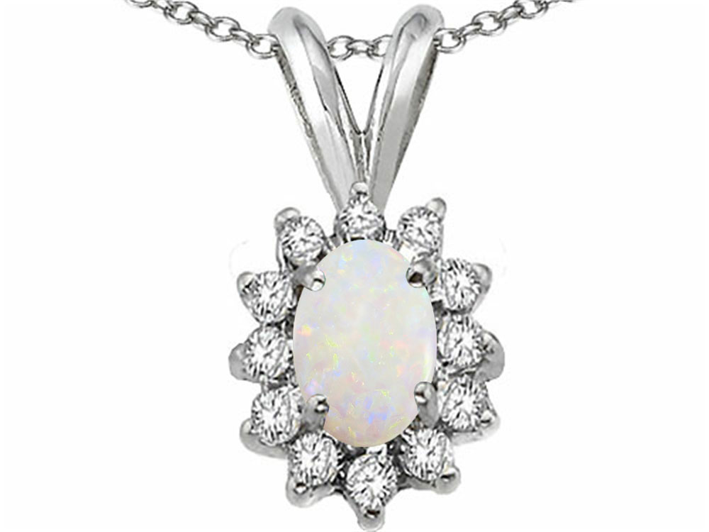 Tommaso Design Oval 7x5mm Genuinie Opal Pendant Necklace by