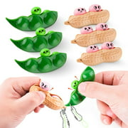 TSV 6PCS Squeeze Beans, Peanut Stress Relief Toy, Funny Facial Expressions Edamame Fidget Keychain, Pea Pod Soybean Stress Relieving Sensory Fidget Toys Gift for Adults Kids Anti-Anxiety