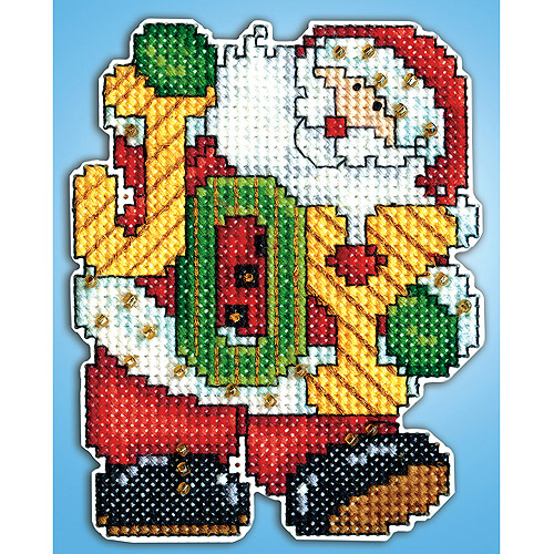 Joy Santa Ornament Plastic Canvas Kit-14 Count Multi-Colored