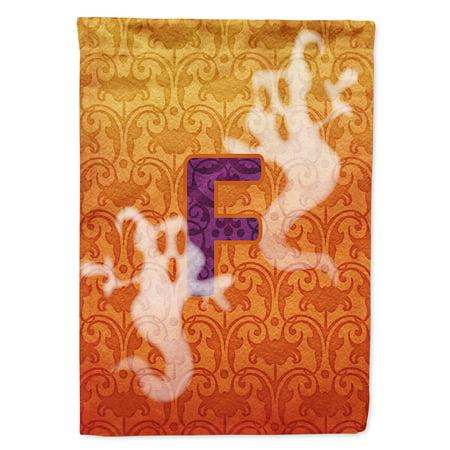 Halloween Ghost Letter F Monogram Initial Garden Flag CJ1040 - Halloween Letter F