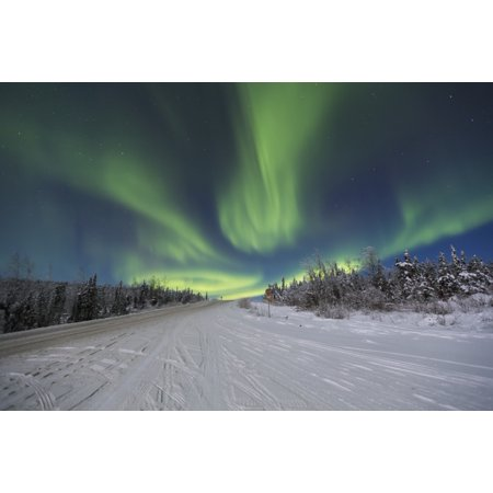 Northern Lights Dancing Over The James Dalton Highway North Of Fairbanks Interior Alaska Winter Canvas Art   Lucas Payne  Design Pics  36 X 24
