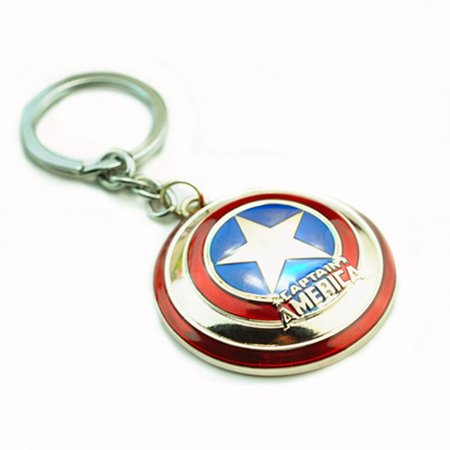 Super Hero the Avengers Captain America Shield Metal Keychain Pendant Key Chains (Silver) By zZZ From USA - Superhero Keychains