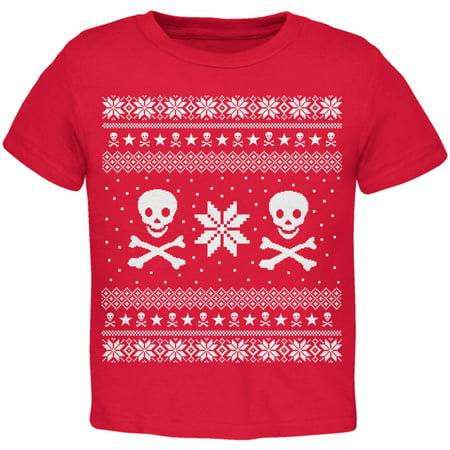 Skull & Crossbones Ugly Christmas Sweater Red Toddler - Infant Ugly Christmas Sweater