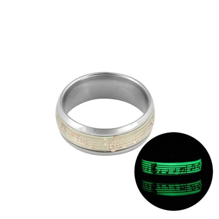 Glow In the Dark Love Couple Ring Stainless Steel Luminous Rings for Couples - image 1 de 6