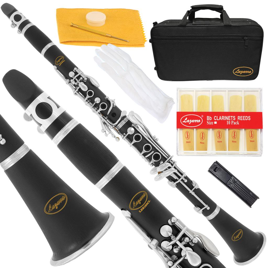Lazarro 150-BK Clarinet Black Ebonite Silver Keys Bb B flat,Extra 11 Reeds,Case,Care Kit