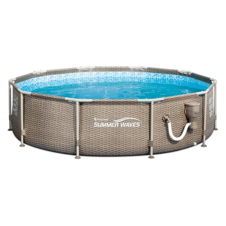 Summer Waves 10 x 2.5 Foot Frame Swimming Pool with Exterior Wicker Print, Tan