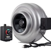 """iPower 8 Inch 750 CFM Duct Inline HVAC Exhaust Blower Ventilation Fan with Variable Speed Controller, 8"""", Grey"""