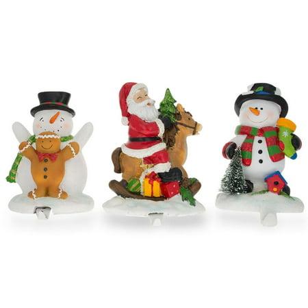 Set of 3 Hand Painted Stocking Holders - Snowmen & Santa 6.5 (Hand Painted Santas)