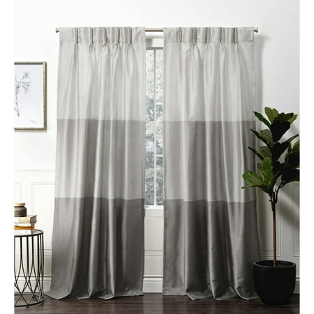 Exclusive Home Chateau Striped Faux Silk Pinch Pleat Curtain Panel Pair ()