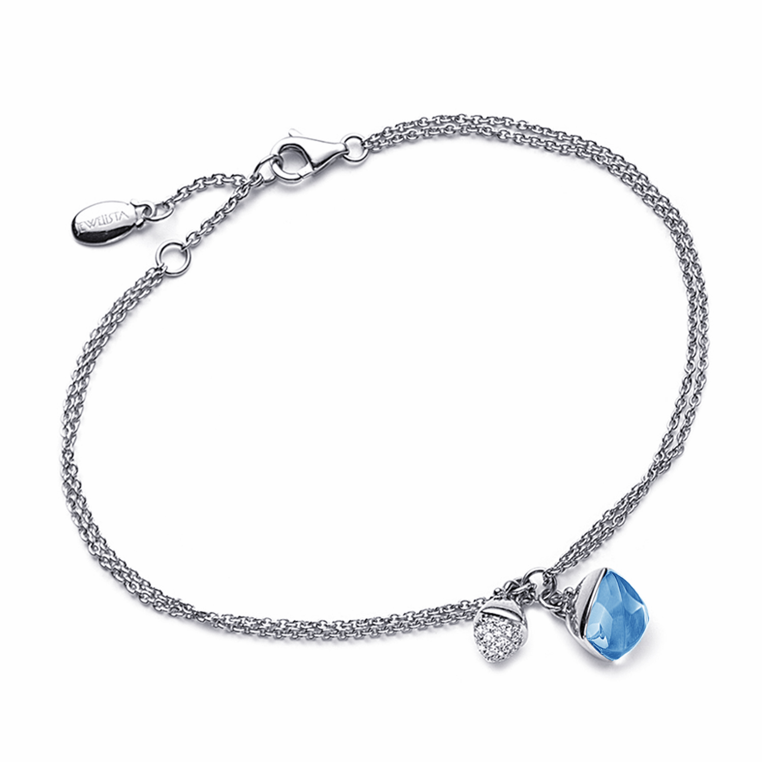 Diamond and Blue Topaz Charm Bracelet in 14k White Gold by Ax Jewelry