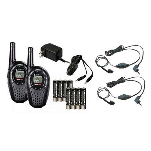 COBRA CXT225 20 Mile GMRS FRS 2-Way Radio Walkie Talkies + (2) Earbud & Mic Sets by Cobra