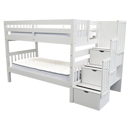 2f1c165ae581cb Bedz King Stairway Bunk Beds Twin over Twin with 3 Drawers in the ...