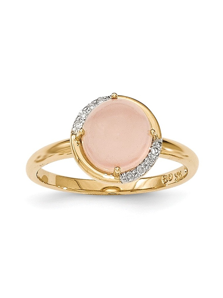 14K Yellow Gold (0.04cttw) Pink Chalcedony and Diamond Ring Size-7 by